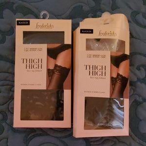 2 pr Frederick's Black Fishnet Thigh Highs size 2X